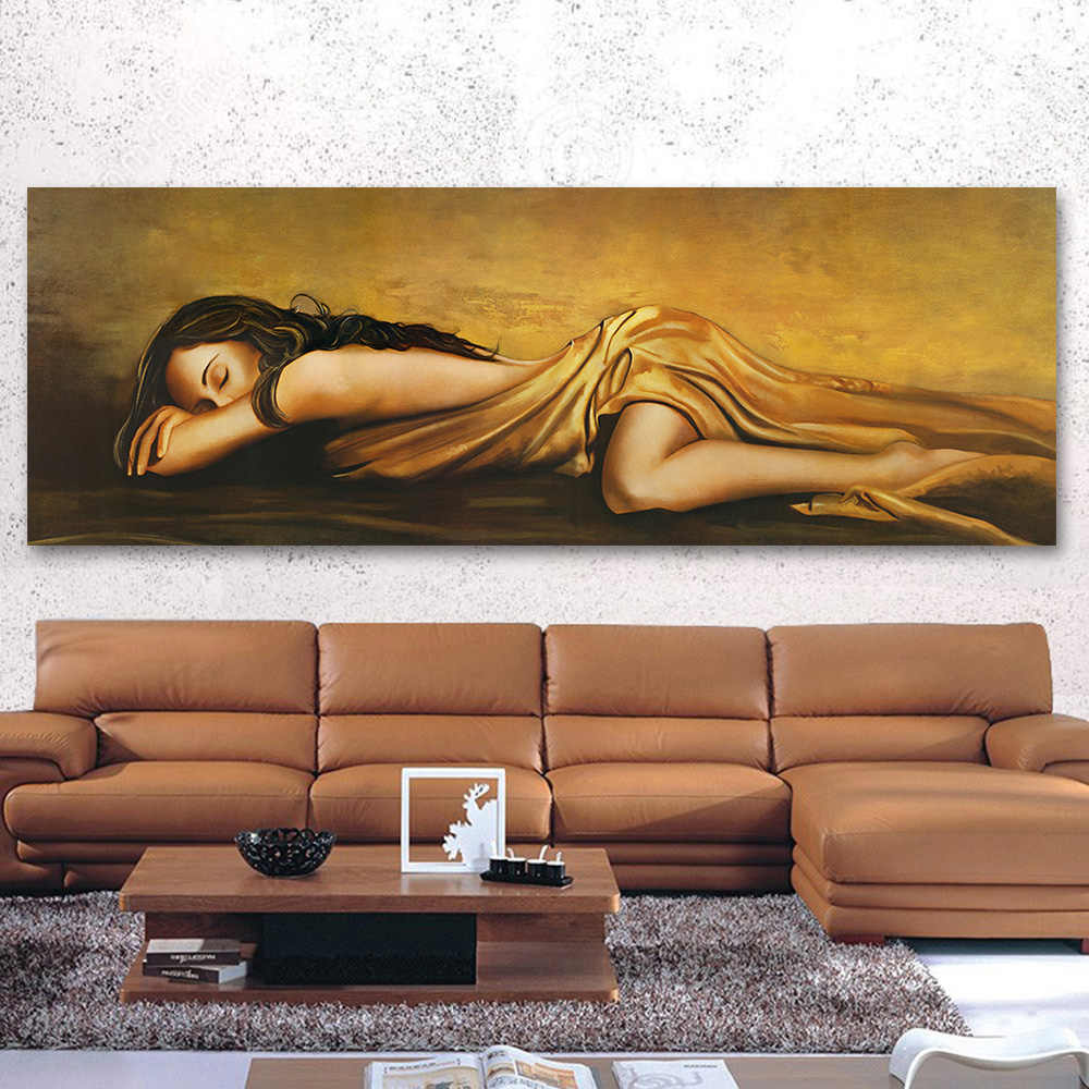 AAVV Wall Canvas Art  The Sleeping Woman Pictures For Living Room Home Decor Figure Painting No Frame