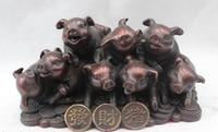 Оптовая продажа завод 5 Китайский Фэншуй Бронзовый Зодиак Год Деньги свиньи статуя Статуя Скульптура