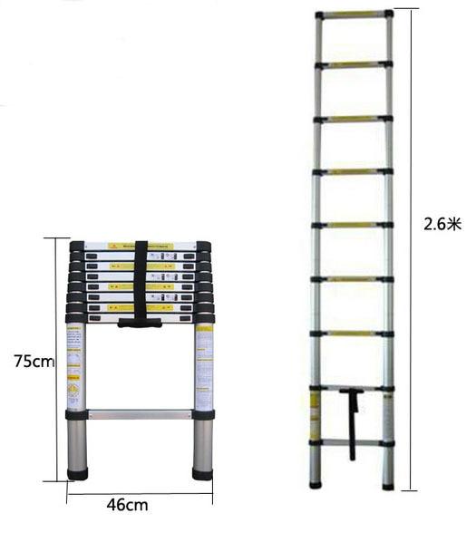 2.6M Portable Retractable Ladder Straight Ladder Telescopic Ladder