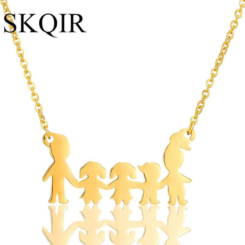 Romantický 5 Obrázek Člen Láska Rodina Přívěsek Růže Zlato Barva Nerezová ocel Řetěz Dámský svetr Šperky, aby dítě Boy dárek