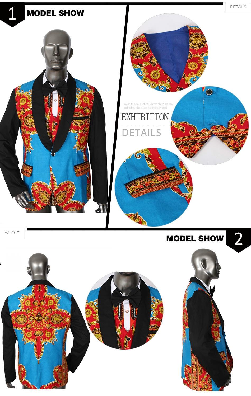 5da72fb6931b4b Casual Mens di Stampa Africana Giacche Vestiti Giacca di Maglia ...