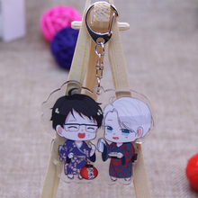 1pcs Otaku Anime YURI on ICE Victor Yuri Katsuki Keychain Acrylic Doubleside Keychain Phone Pendant Keyrings kulcstarto