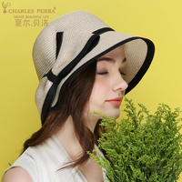Charles Perra Sun Hats Female Summer Foldable Women Sunscreen Straw Hat Fashion Elegant Butterfly Knot Beach Lady Caps 6536