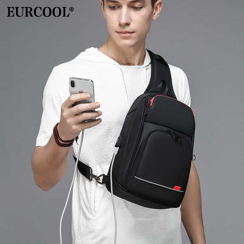 "EURCOOL  9.7"" iPad Crossbody Shoulder Bag for Men Short Trip Messenger Bags Water Repellent USB Charging Chest Packs n1906"