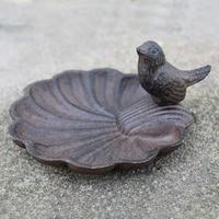 Antique Rust Accents Home Garden Decor Cast Iron Metal Bird Feeder Plate