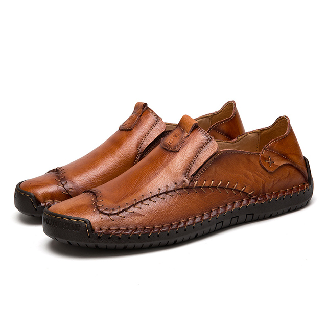 Men's Driving Shoes 2019 Men Genuine Leather Loafers Shoes Fashion Handmade Soft Breathable Moccasins Flats Slipe On Shoes 38-48