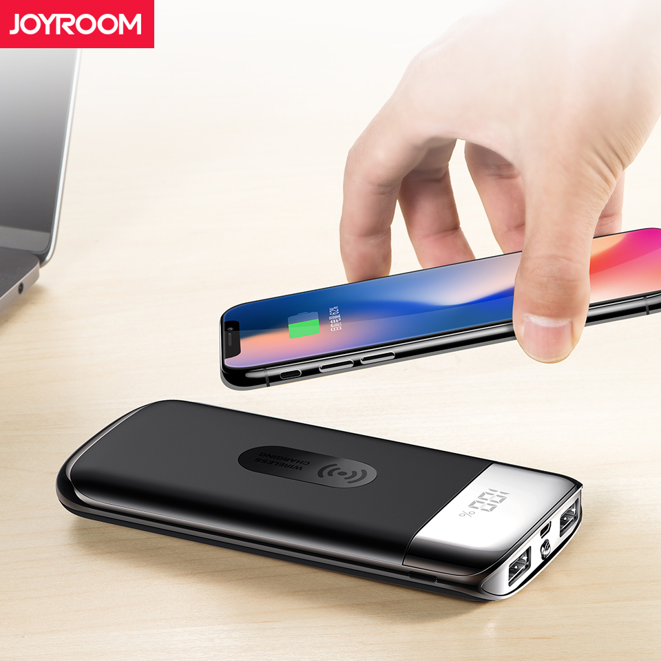 Joyroom Qi Wireless Charger 10000mAh Power Bank Portable Dual USB Wireless External Battery Powerbank + Digital Display LED Lamp