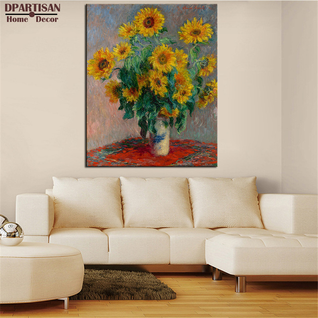 DPARTISAN Claude Monet Vase Of Sunflowers Wall Art Prints No Frame Wall  Painting Wall Picture Living