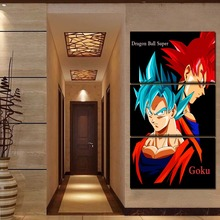 Wall Art Painting HD Printed Pictures 3 Pieces Anime Dragon Ball Super Goku SSGSS Home Decor Canvas Poster Modern Artwork