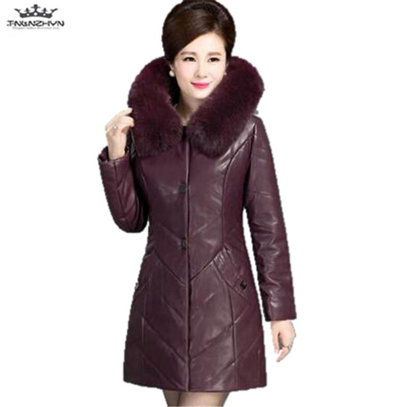 tnlnzhyn 2019 New Winter PU Leather Jacket Women Cotton PU Coats Faux Large Fur Collar Hooded Women Winter Leather Coat Y704