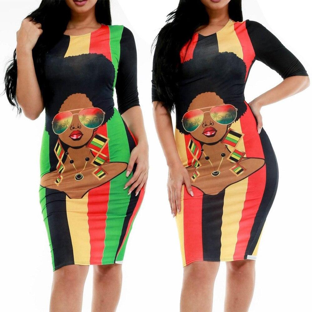 BAIBAZIN African Woman Dress Cartoon Print Avatar Five-point Sleeve