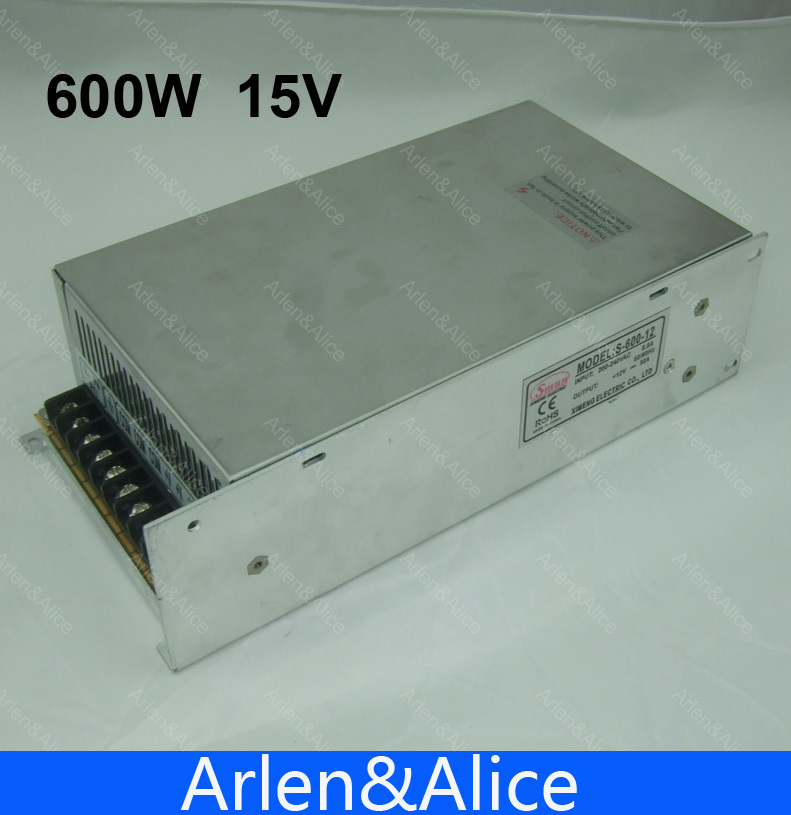 600W 15V 40A output 110V input Single Output Switching power supply for LED Strip light AC to DC smps 15v 600w switching power supply 15v 40a single output ajustable 50 60hz ac to dc industrial power supplies s 600 15