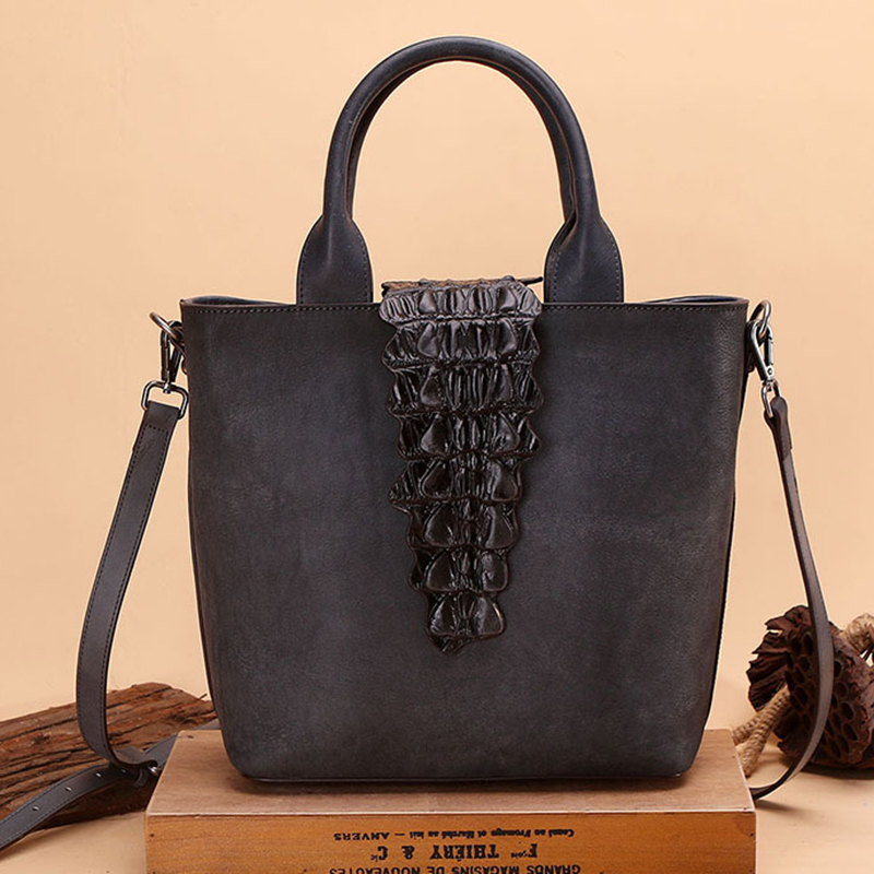Natural Skin Women Shoulder Top Handle Bags Crocodile Pattern High Quality Genuine Leather Cross Body Tote