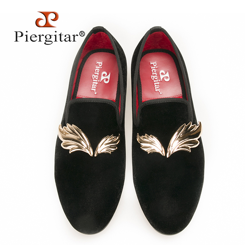 Piergitar new style Handcraft men velvet slipper with gold Leaves metal fit Wedding and Prom Men Loafers Fashion men's flats men s 18k yellow gold rolex inspired 8 5mm comfort fit wedding band