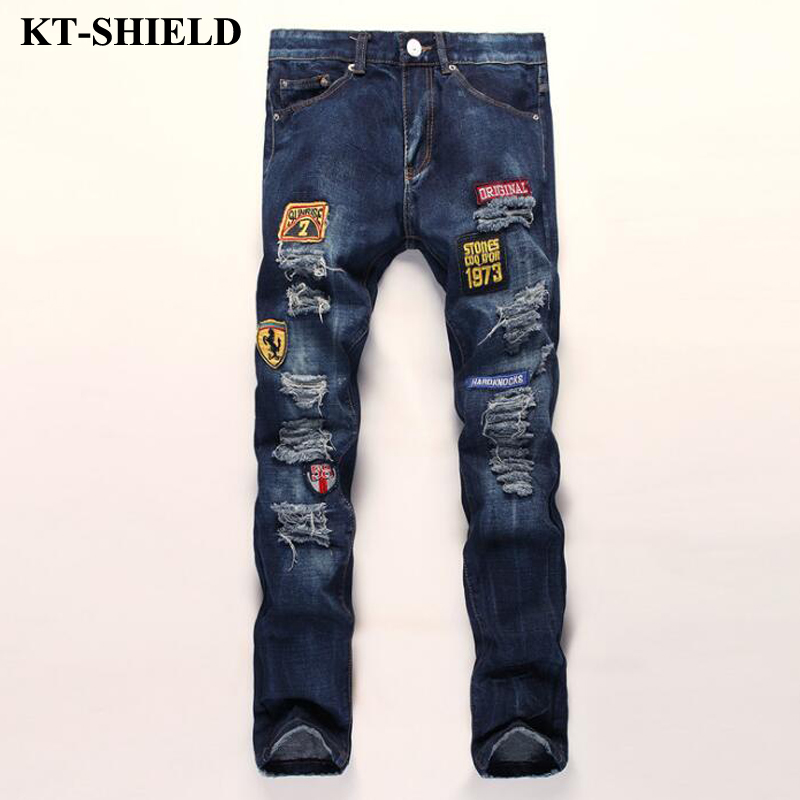 men ripped jeans brand fashion denim trousers zippers skinny slim fit mens jeans cotton vaqueros hombre