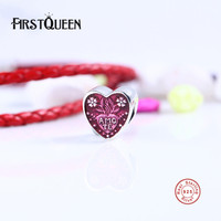 FirstQueen Latin Love Heart Charm Beads Fit Brand Bracelets 925 Sterling Silver Cerise Enamel Heart Charms