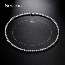 NEWBARK Classic Long Necklace Circle Rhinestone Jewelry With AAA Cubic Zirconia Stunning Choker Chain Wedding Femme Accessories