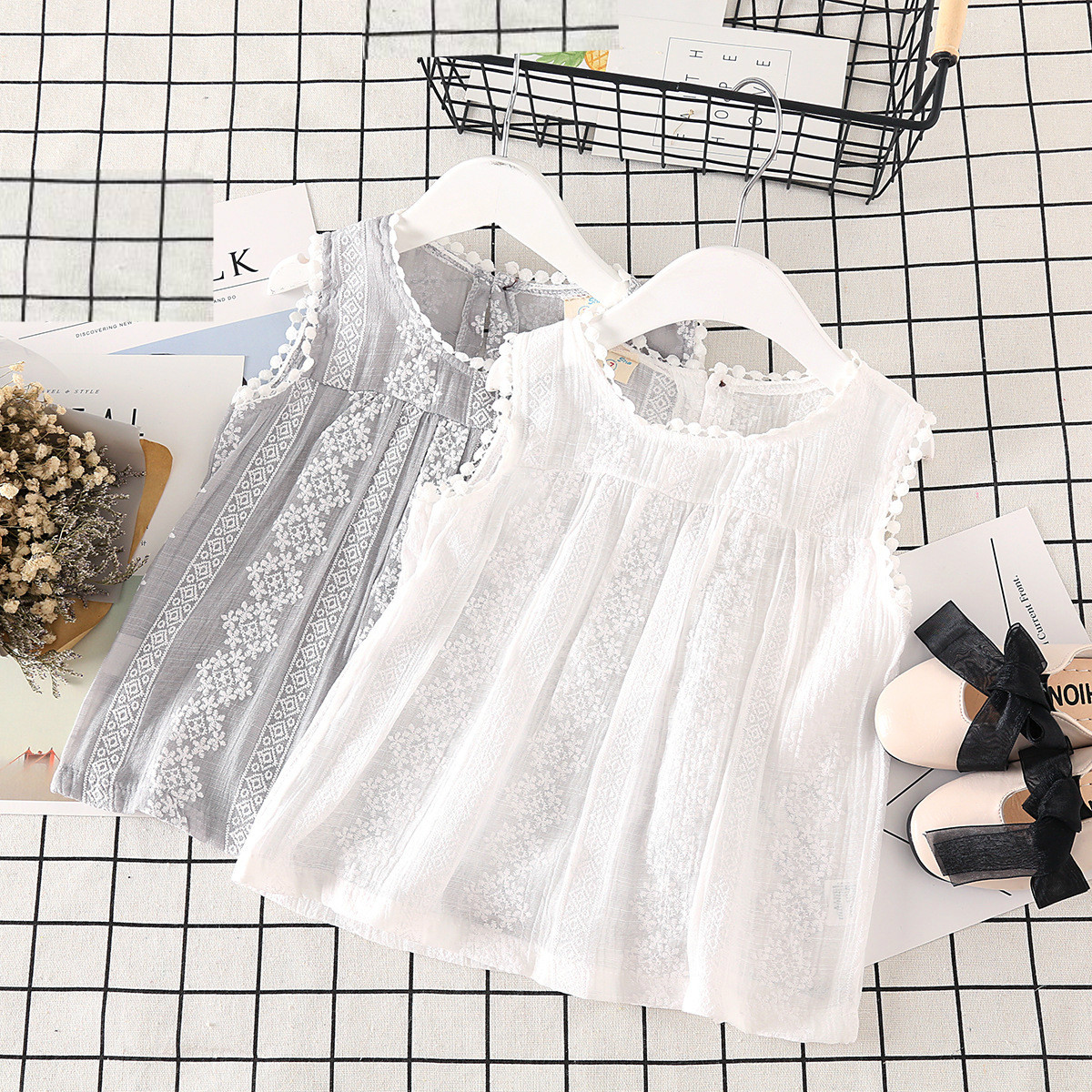 Vest T-Shirt Girl Summer Children's Sleeveless Solid-Color New Wear Lace Sweet Coat