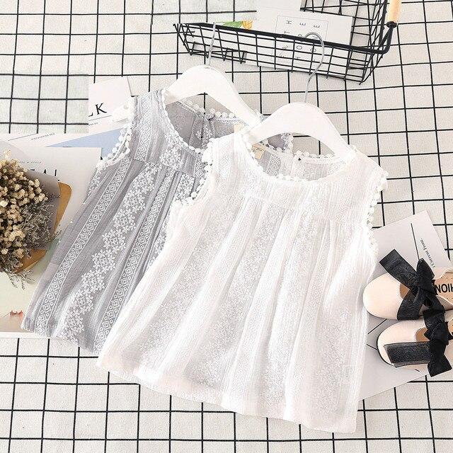 summer children's wear 2019 summer new sweet girl lace sleeveless T-shirt solid color coat vest