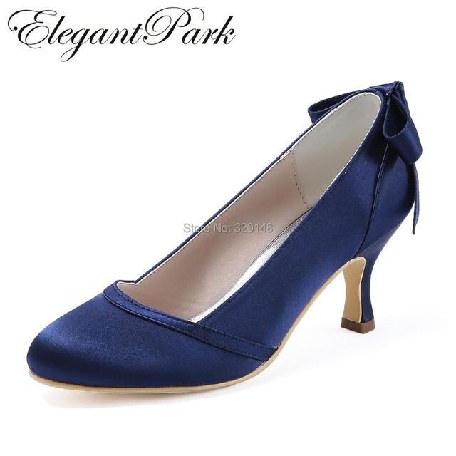 a4e910b1e2e4e Woman shoes Mid heel Wedding Bridal Navy Blue Round Toe Bows Satin lady  girls bride bridal prom party evening pumps HC1804