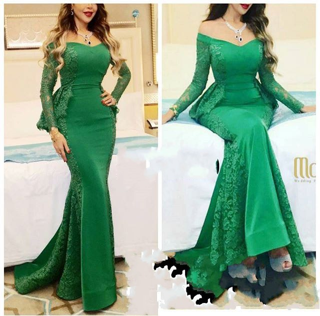 Fashion Green Lace V-Neck Mermaid   Evening     Dresses   Long Plus Size Cap Sleeve Prom Gown Party   Dress   Formal   Dress   Abendkleider 2017