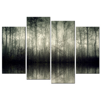 4 Panel Nature Landscape Wall Art Painting Autumn Fall Scene Tree Forest In A Foggy Morning Picture Poster Vintage Canvas Decor