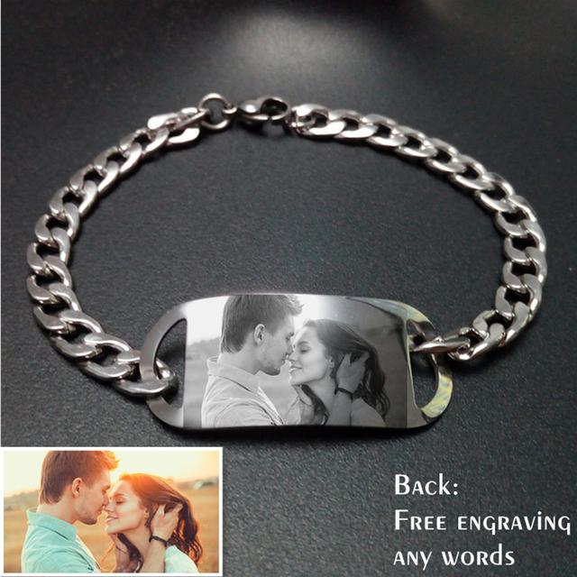 Nome personalizado Foto Gravada Pulseira Personalizar 316 Pulseira de Aço Inoxidável Mulheres Dos Namorados Presente Para Amigos Da Família
