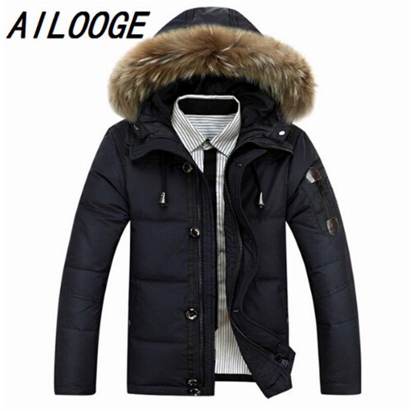 Explosion models fashionable men   down   jacket winter warm   down   jacket Male White duck   down     coat   jacket