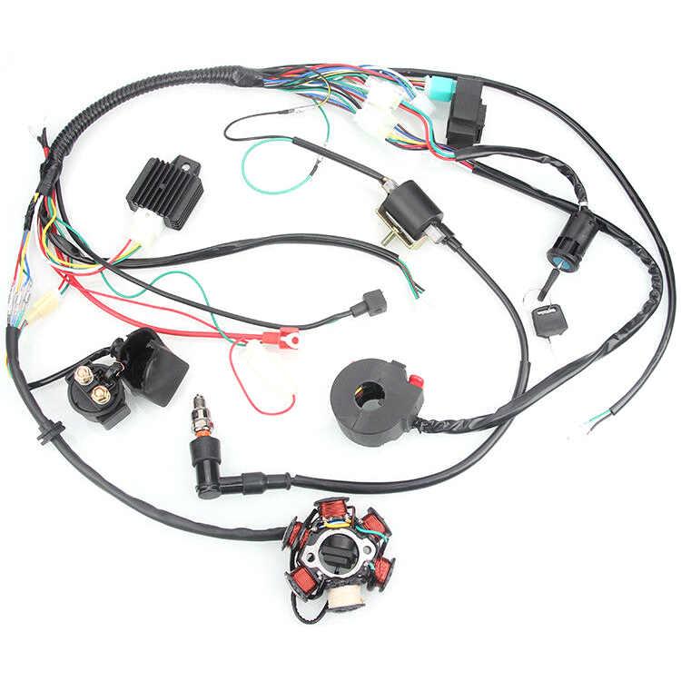 50CC 125CC Mini ATV Complete Wiring Harness CDI STATOR 6 Coil Pole Ignition  Elec    - AliExpress