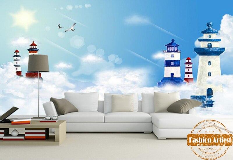 Custom sky sea lighthouse peace scenery wallpaper mural gull beacon in cloud sunshine sofa bedroom living room cafe restaurant