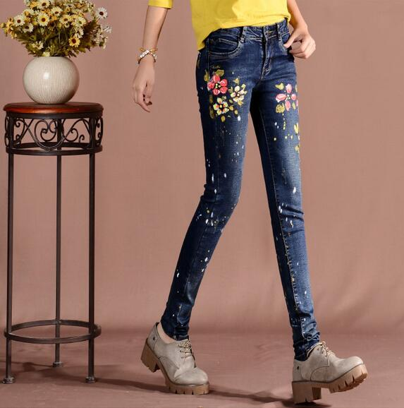 Fashion Korean female jeans casual printing denim trousers Women slim pencil pants S197