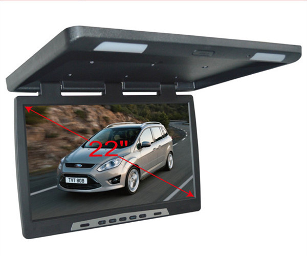22 дюймов HD широкий экран Автомобильный откидной дисплей накладные TFT ЖК экран ТВ автобус грузовик AD крыша крепление плеер