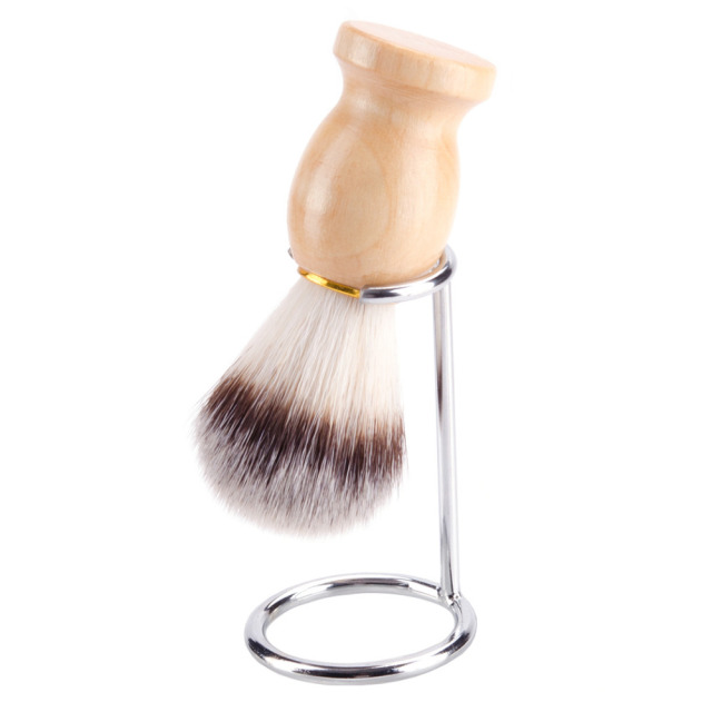 ZY 2in1 Synthetic Nylon Soft Shaving Brush For Man Wood Handle+ Stainless Steel Stand Holder Barber Straight Razor Tool