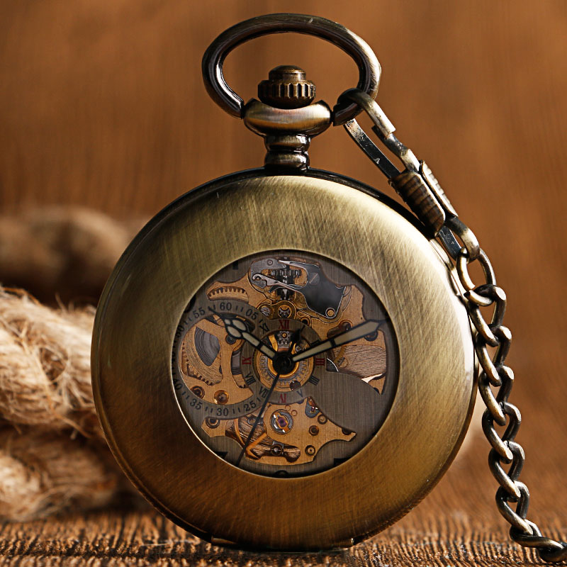 New Arrival Retro Bronze Smooth Arabic Numeral Transparent Skeleton Automatic Mechanical Pocket Watch Unisex Gifts Half