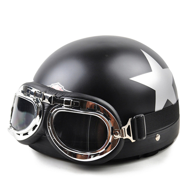 New Motorcycle Motorbike Riding Helmets Motocross Vintage Open Half Face Racing Helmet Visor Goggles