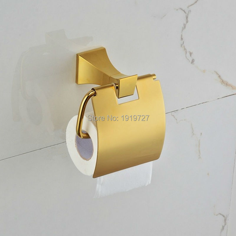 2017 New Hot Sale Wholesale And Retail Promotion Wall Mounted Golden Bathroom Roll Paper Holder Wc Toilet Paper Holder wholesale and retail luxury polished golden bathroom toilet paper holder tissue box wall mounted dual paper boxes