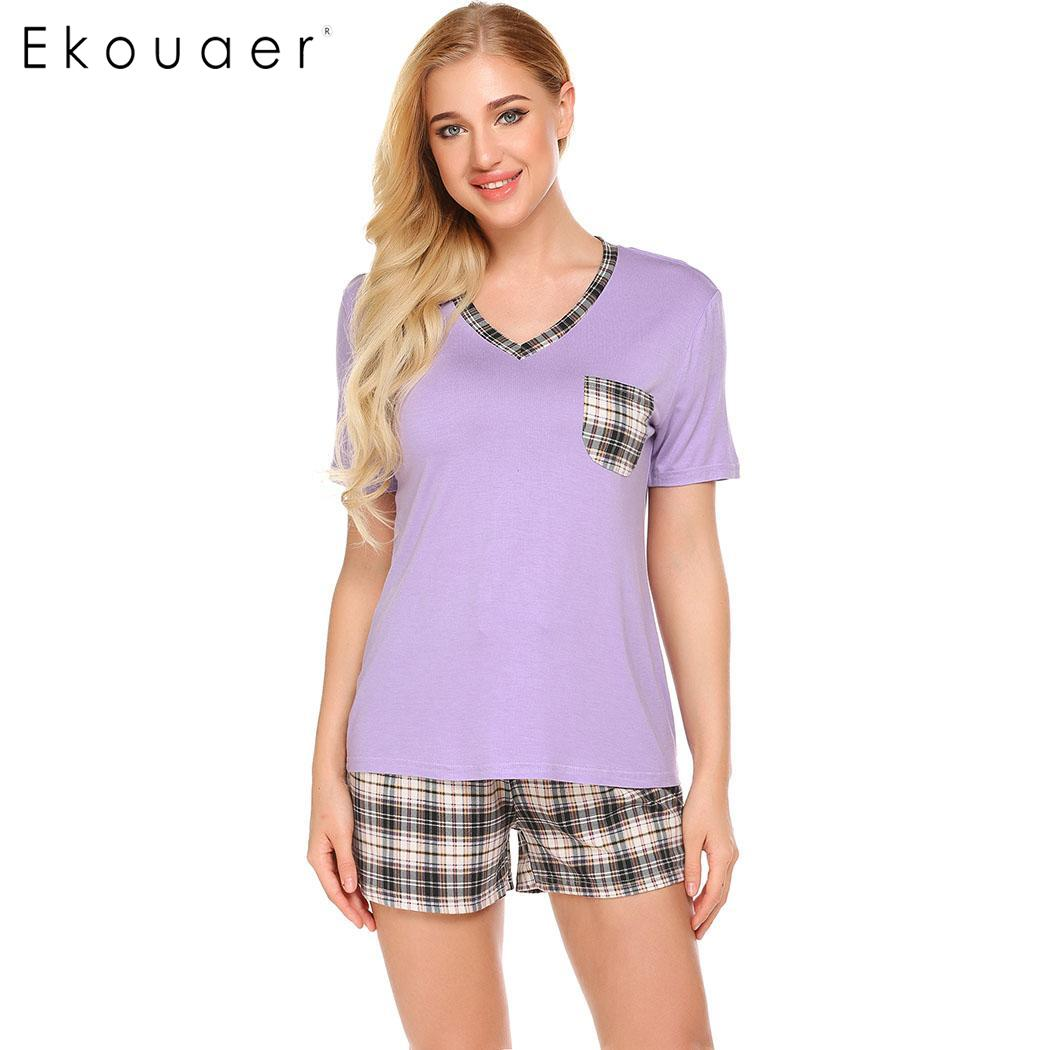 Pajama set women cotton short sleepwear suit soft v-neck women sleeve plaid t-shirt and shorts pajamas sets nightwear