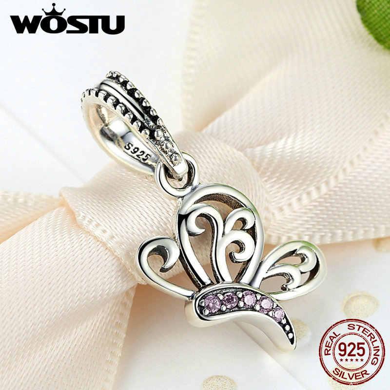Новый дизайн 100% стерлингового серебра 925 Бабочка качающаяся подвеска оригинальный браслет WST Подвески аутентичный драгоценный подарок