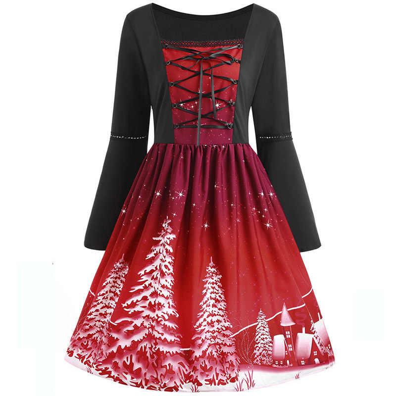 96763077034 Винтажные рождественские платья женские Ретро на шнуровке с длинным рукавом  Готическая Лолита вечерние Вечеринка Vestidos 3XL