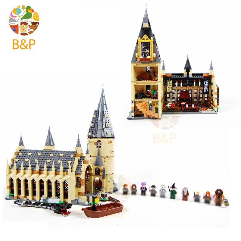 Harri Potter O Legoing 75954 Hogwarts Grande Conjunto Modelo de Parede Casa De Blocos De Construção Crianças Brinquedo para Presente de Aniversário