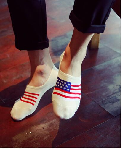 10pairs/lot free shipping european style man cotton flag socks thin man summer flag no show 5patterns