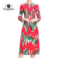 New Arrival Dresses for Women Runway Long Sleeves Slim Red Dress for Party 2018 Fashion Summer dresses