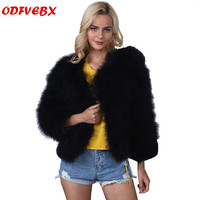 Boutique casual jackets female 2019 autumn and winter new plus size imitation fur ostrich hair short coats women's clothing