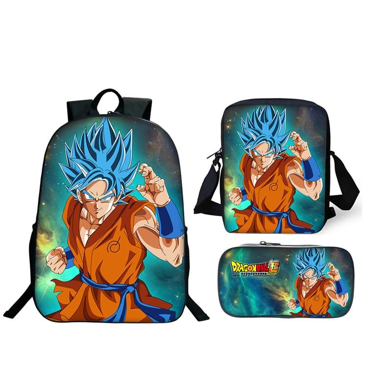 3Pcs/Set Anime Dragon Ball Z Super Backpack Mini Bags Pencil Bags School Students Best Gifts For Children Son Goku School Bags usb charging headphone jack rucksacks japan anime dragon ball z backpack kakarotto goku cosplay teenagers laptop bag school bags
