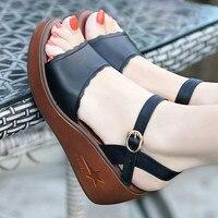 Big Size 33 43 Genuine Leather Shoes Woman Summer 2018 Platform Sandals Ladies Wedge Heels Leather Sandals Women Beach Shoe