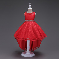 Graduation Gowns Children Sleeveless 2018 Long Summer Dresses Girl Kids Pageant Dress Red for Girl Clothes for 3 To 14 Year Olds