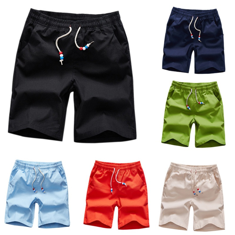 M-5XL Summer Male Solid Short Pants Fashion Men's Casual Solid Wear Beach Shorts Man 6 color H7