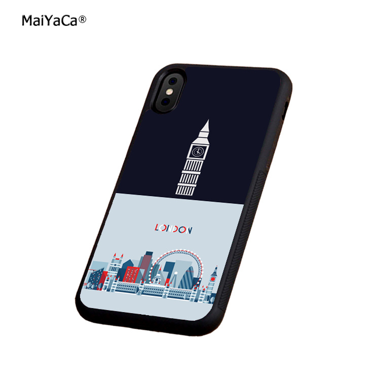 London england soft silicone edge mobile phone cases for apple iPhone x 5s SE 6 6s plus 7 7plus 8 8plus XR XS MAX cover case in Half wrapped Cases from Cellphones Telecommunications