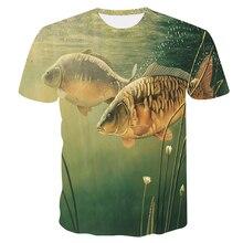 Новинка, стильная повседневная футболка с цифровым 3D принтом рыбы, мужская и женская футболка, летняя футболка с коротким рукавом и круглым вырезом, Топы И Футболки, футболка для рыбалки