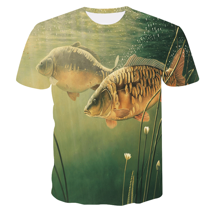 2018 new style casual Digital 3D Print fish   t     shirt   Men Women   T  -  shirt   Summer Short Sleeve O-Neck Tops & Tees fishing   t     shirt